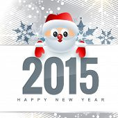 2015 design with santa claus above the text covered with snowflakes