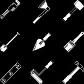 White vector icons for woodwork tools