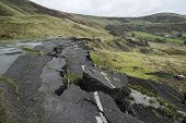 image of collapse  - Collapsed A625 road in Peak District UK - JPG