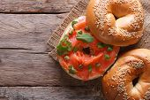 Bagel With Red Fish And Soft Cheese Top View Horizontal