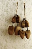 stock photo of stretcher  - Wooden shoe stretcher mens and ladies still life - JPG