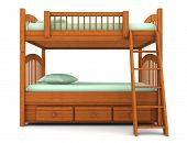 image of bunk-bed  - bunk bed isolated on white background with clipping path - JPG