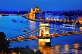 Panorama Of Budapest, Hungary, With Danube River, Chain Bridge And The Parliament At Blue Hour