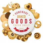 Paper baked goods label with type design and nuts
