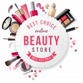 foto of blush  - beauty store emblem with type design and cosmetics - JPG