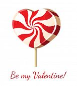 Valentine's day card with lollipop heart