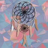 beautiful dream catcher on polygonal  background with triangles.