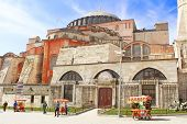 View of Saint Sophia Cathedral and the area with tourists citizens and street sellers