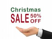 Christmas Sale 50 Percent Off Holding By Realistic Hand