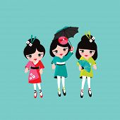 picture of japan girl  - Sweet geisha friends Japanese traditional kimono fashion girls illustration in vector  - JPG