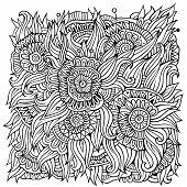 floral ornamental doodles vector background