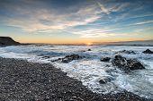 Sunset At Northcott Mouth Beach