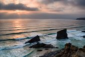 Daramatic Sunset At Bedruthan Steps