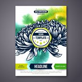 Vector Poster Template with Watercolor Paint Texture and Flower.