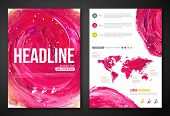 Business Poster or Flyer Template with paint abstract pink background.