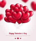 Valentine's day background with red flying bunch of hearts balloons.