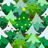 foto of christmas theme  - Christmas theme pine tree forest close up seamless pattern background cartoon style - JPG