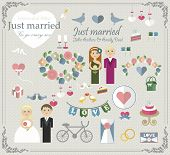 Постер, плакат: set wedding elements wedding for car glass wedding scrapbook wedding Cake flat Wedding card flat