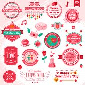Set Of Vintage Happy Valentine's Day badges and label