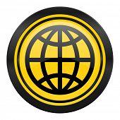 earth icon, yellow logo