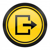 exit icon, yellow logo