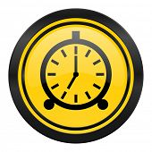 alarm icon, yellow logo, alarm clock sign