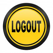 logout icon, yellow logo