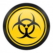 biohazard icon, yellow logo, virus sign