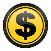 dollar icon, yellow logo, us dollar sign