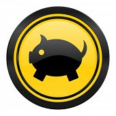 piggy bank icon, yellow logo