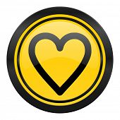 heart icon, yellow logo, love sign