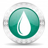 water drop green icon, christmas button