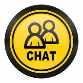 chat icon, yellow logo