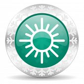 sun green icon, christmas button, waether forecast sign  poster