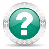 question mark green icon, christmas button, ask sign