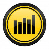 graph icon, yellow logo, bar graph sign
