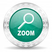 zoom green icon, christmas button