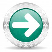 right arrow green icon, christmas button, arrow sign