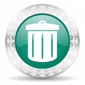 recycle  bin green icon, christmas button, recycle bin sign