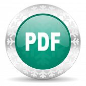 pdf green icon, christmas button