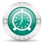 alarm green icon, christmas button, alarm clock sign