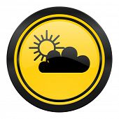 cloud icon, yellow logo, waether forecast sign
