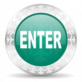 enter green icon, christmas button