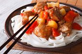 Pork With Vegetables And Rice Noodles Close Up Horizontal