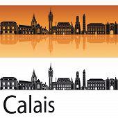 Calais Skyline In Orange Background
