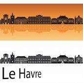 Le Havre Skyline In Orange Background