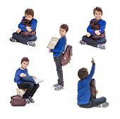 Set of portraits schoolboy with books. Isolate on white background.