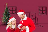 Young festive couple against red vignette