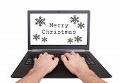 Man Working On Laptop, Merry Christmas