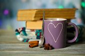 Beautiful composition with cup of hot drink, on lights background